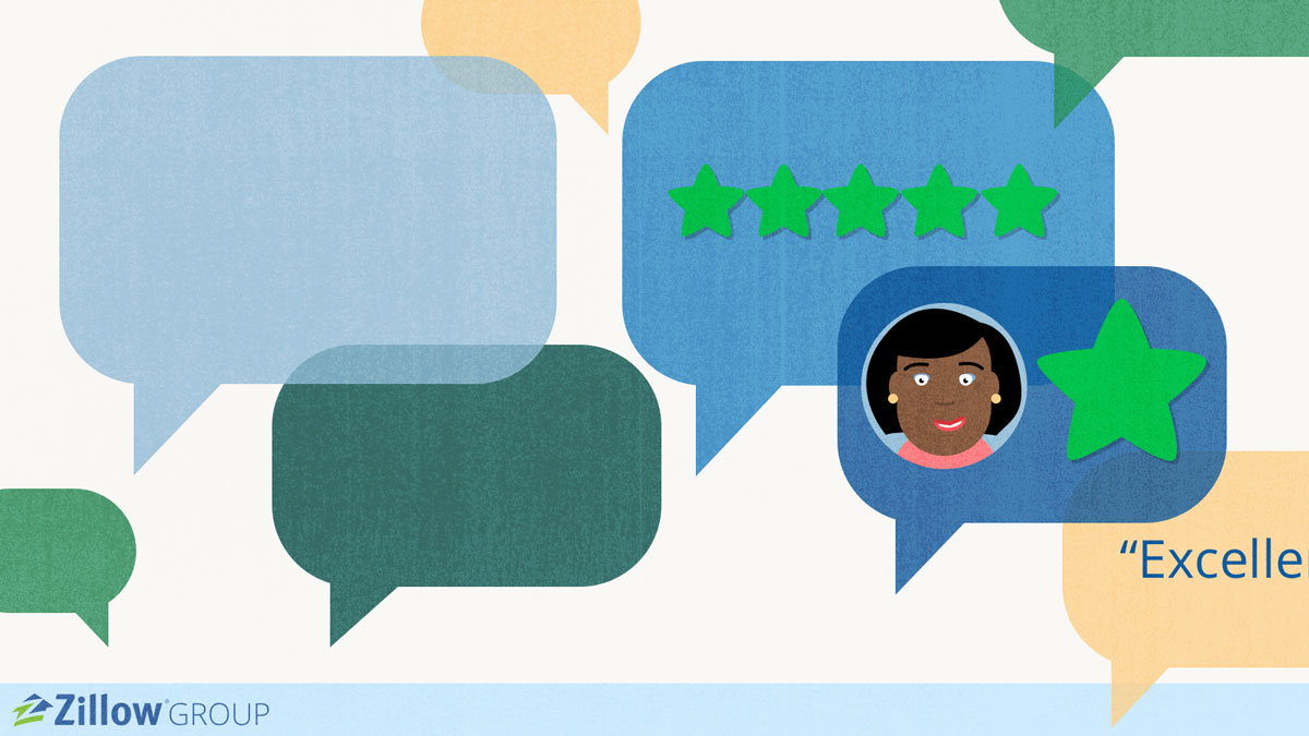 Illustration of speech bubble and stars. Lender Reviews slide