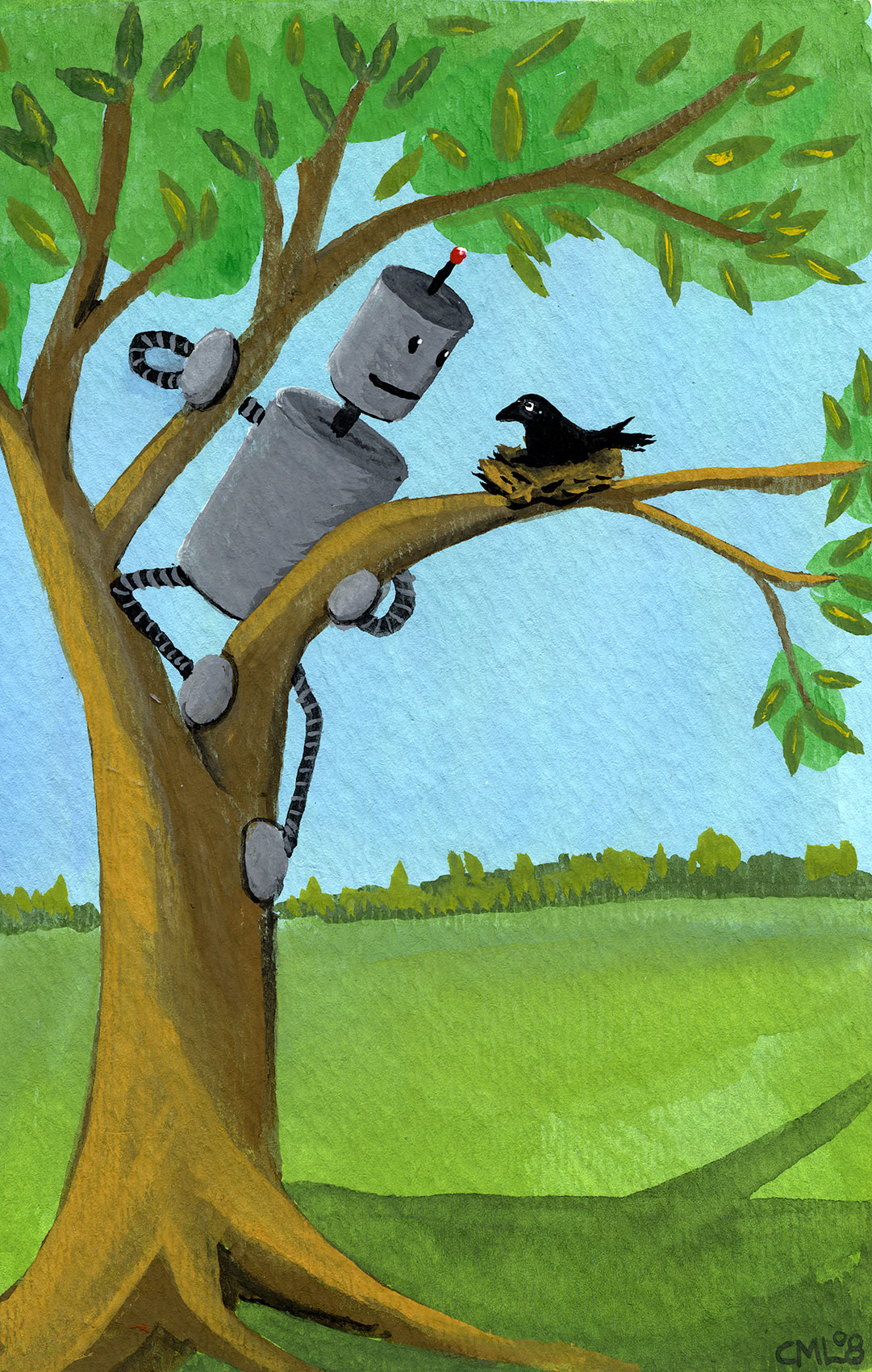 Robot with Baby Crow / Robot of the Month by Christine Marie Larsen